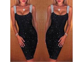 Dámské obtažené šaty s kamínky - až 5XL
