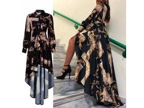Luxusní černé asymetrické šaty s ornamenty