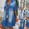 Dámské riflové šaty s velkými kapsami - až 3XL