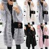 Dámský zimní plyšový kabát s kapucí z příjemného materiálu - až 4XL