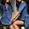 Dámské luxusní košilové DENIM šaty s krajkou až 2XL