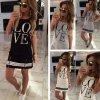 Dámské pohodlné trikové šaty s nápisem LOVE ve třech barvách
