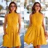 Sexy dámské letní žluté šaty