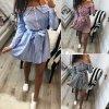 Letní pruhované šaty se spadlými rameny