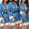 Luxusní denimové šaty s krajkou
