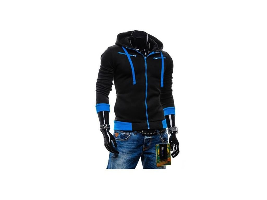 efd4c5b91d67 Pánska mikina s kapucňou na zips v čierne farbe - OBLECSITO.SK