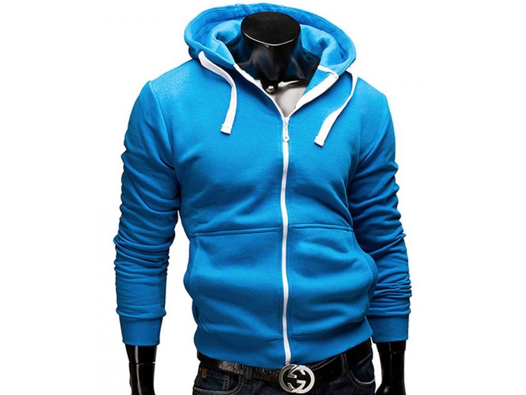 Pánska mikina s kapucňou na zips v modré farbe - OBLECSITO.SK 95864b7d35c