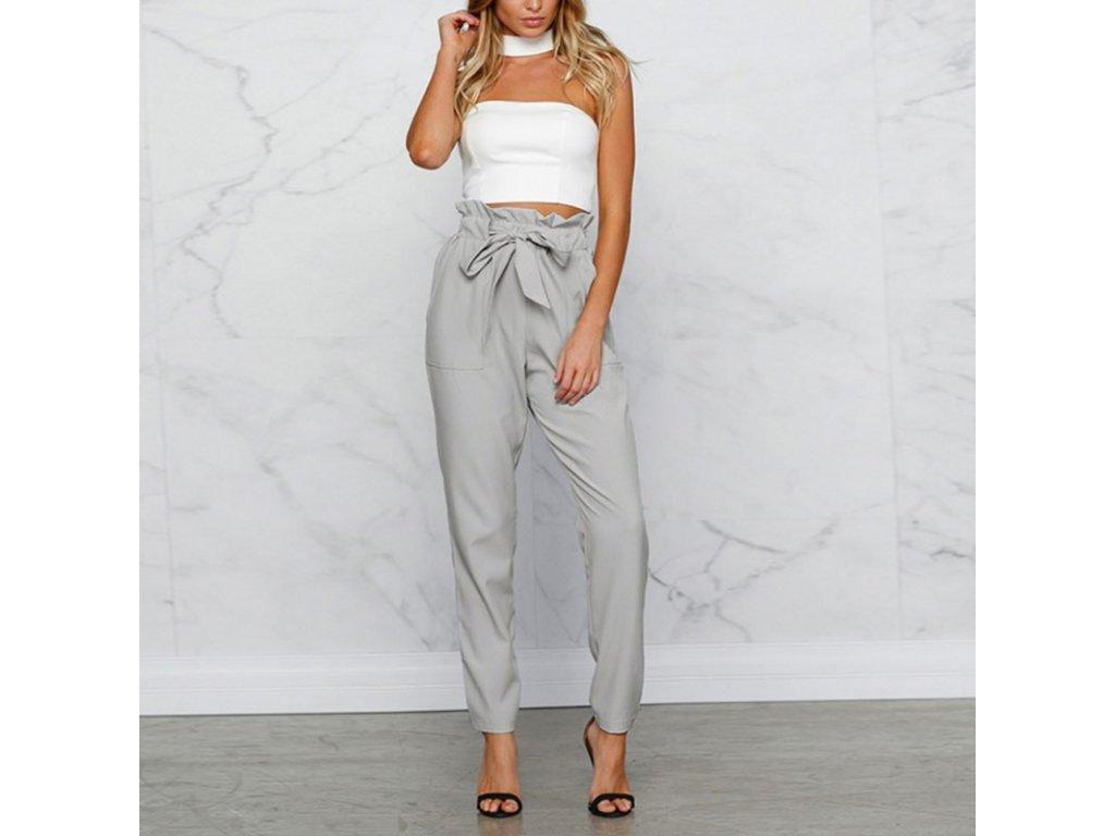 cdb70170aedd Luxusné dámske nohavice s mašľou v páse - OBLECSITO.SK
