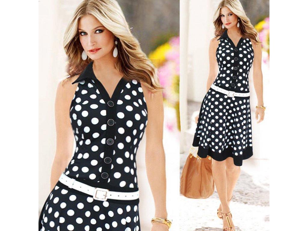 Štýlové dámske bodkované šaty bez rukávov - OBLECSITO.SK ba862c4d2a