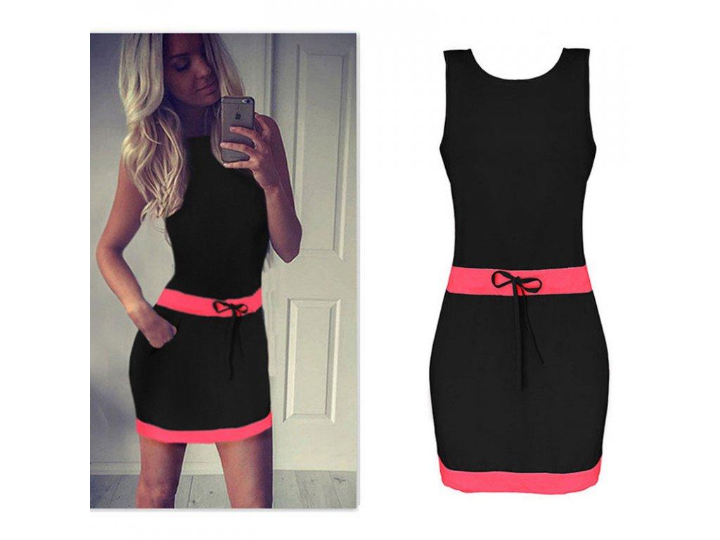 775f8bbf4afd Čierne šaty s ružovými detailami - OBLECSITO.SK