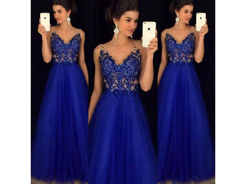 Dlhé kráľovské plesové šaty - OBLECSITO.SK 89dd48b304c