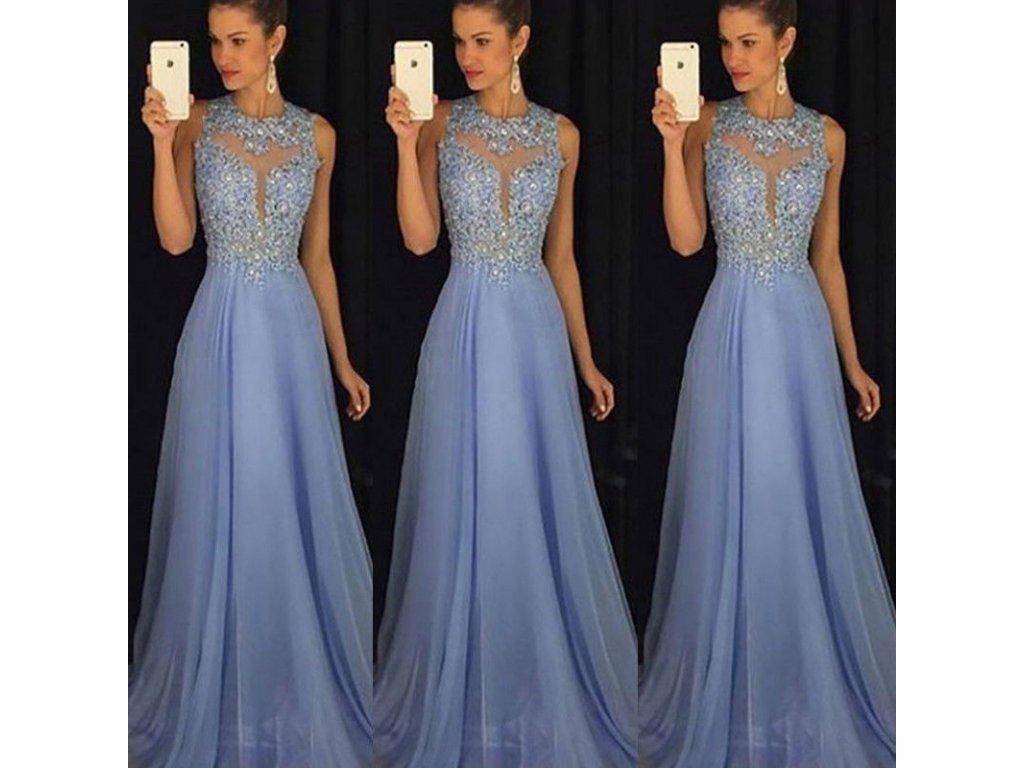 Dlhé kráľovské plesové šaty - svetlo modré - OBLECSITO.SK ab1650bc233