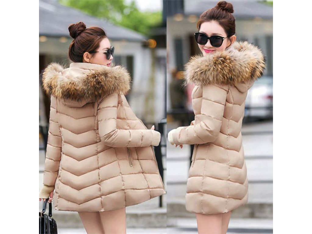 edeb11a08c Dámska zimná dlhá bunda   kabát s kožušinou - OBLECSITO.SK
