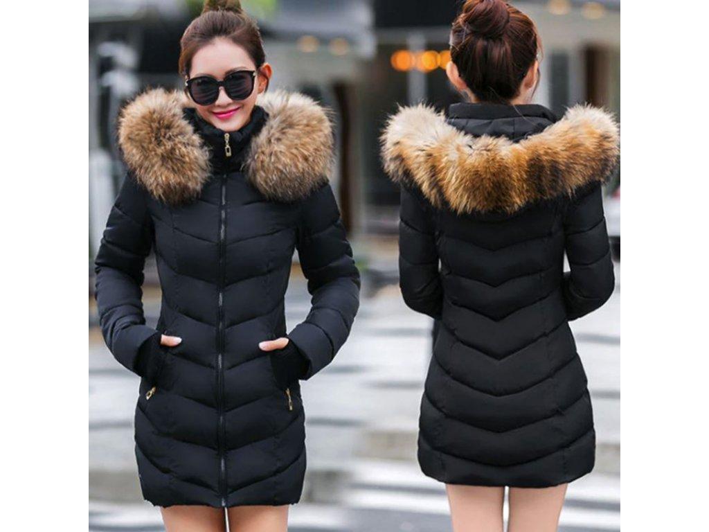 8a5e554f6f18 Dámska zimná dlhá bunda   kabát s kožušinou - OBLECSITO.SK