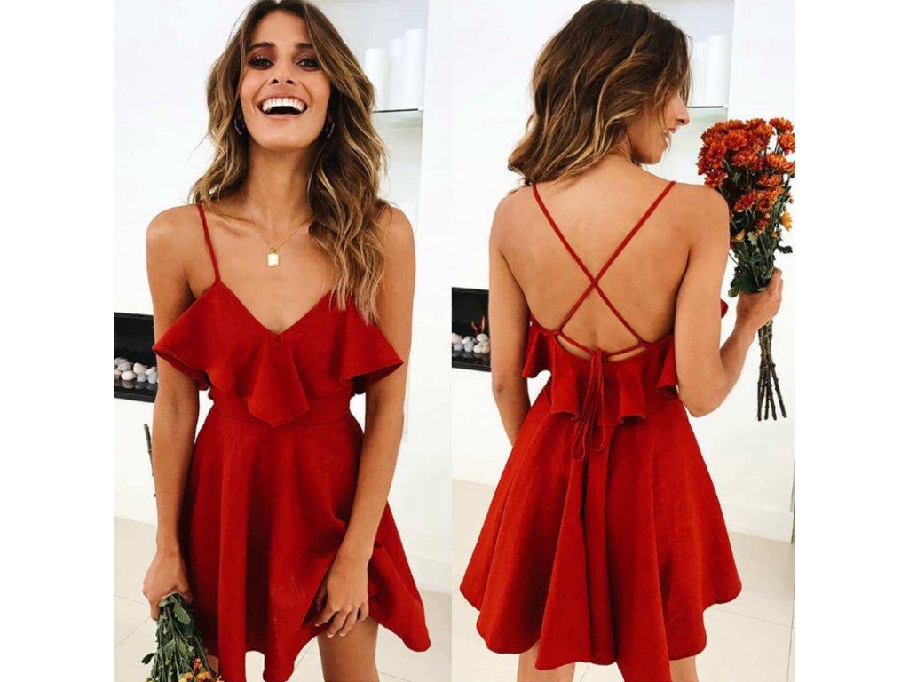 e4bc5760a35c Červené šaty s odhaleným chrbátom - OBLECSITO.SK
