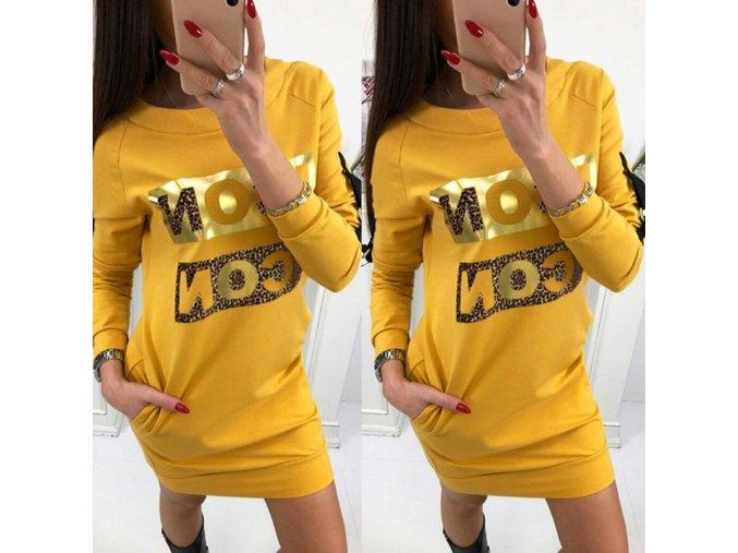 Štýlové horčičné mikinové šaty