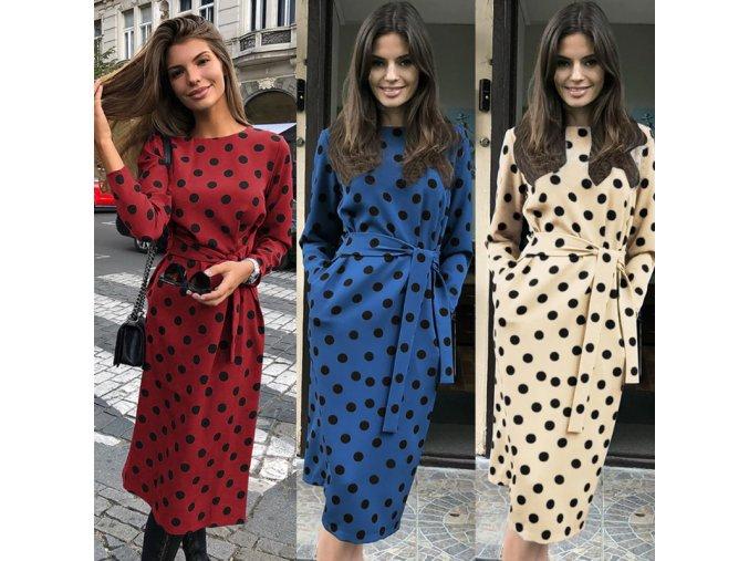 Jesenné polka bodkované midi šaty