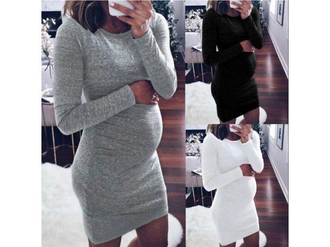 Jesenné tehotenské basic šaty - 3 farby