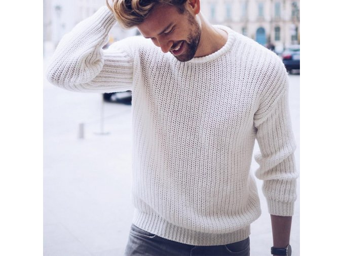Pánsky štýlový pletený sveter s nápletom