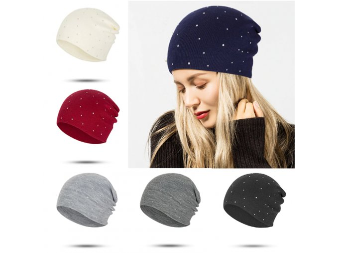 Dámska pletená čiapka s trblietkami