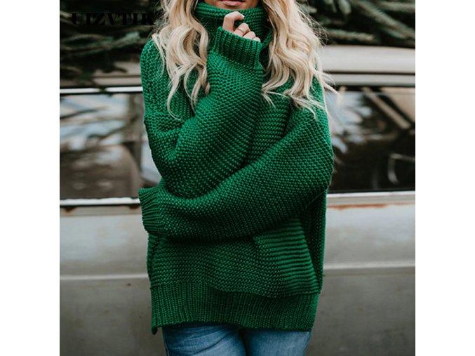 Jesenný huňatý sveter s rolákom - 3 farby
