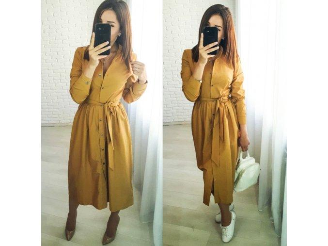 Jesenné košeľové midi šaty - 2 farby