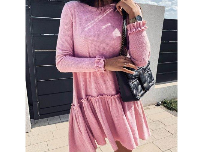 Dámske jesenné pletené šaty s volánom - 2 farby