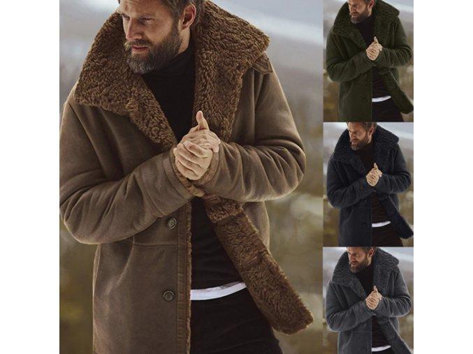 Ultrateplý pánsky kabát s kožuchom