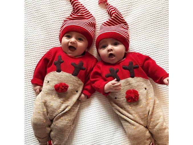Detské vianočné pyžamko s čiapočkou - overal + čiapočka