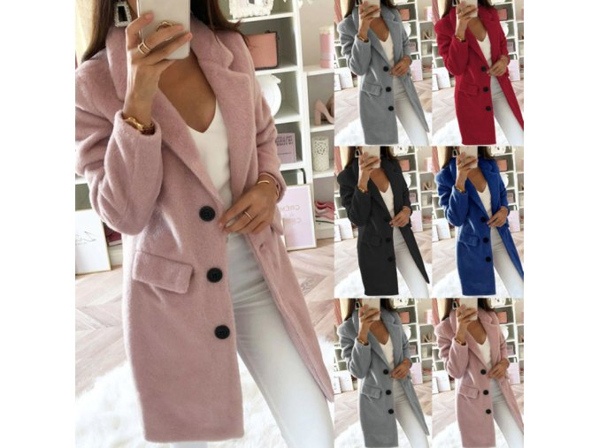 Dámsky zimný teplý kabát - 5 farieb až 5XL (Barva Červená, Velikost S)