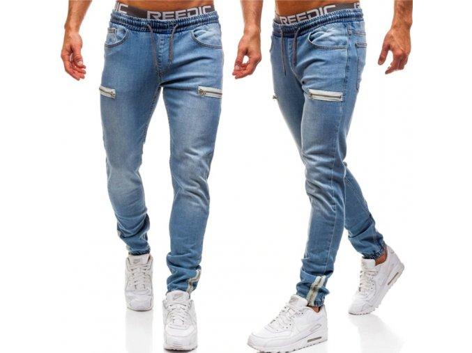 Pánske pohodlné džínsy so zipsami