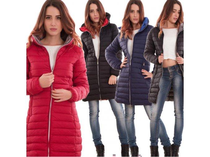 Dámsky zimný prešívaný kabát s kapucňou
