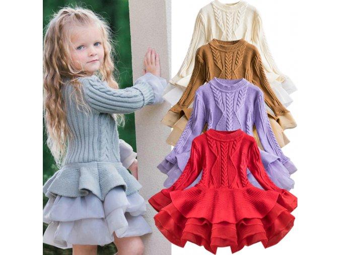 Detské pletené šaty s tylovou sukňou - 5 farieb