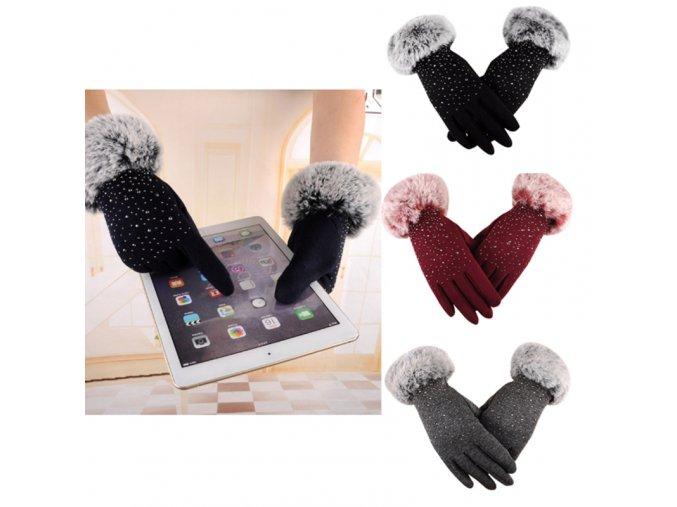 Dámske elegantné rukavice - vhodné pre dotykový telefón