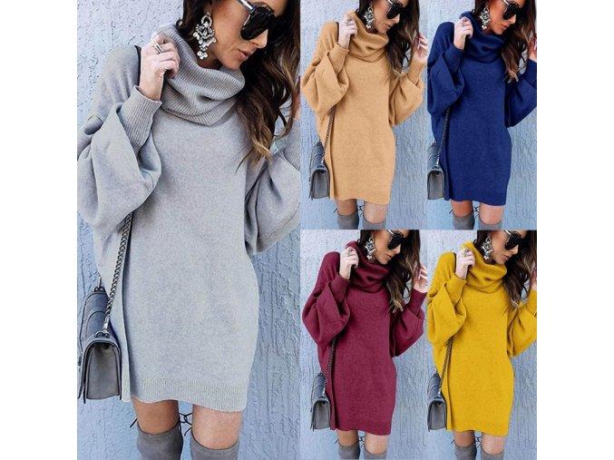 Luxusné jesenné pletené šaty - 5 farieb