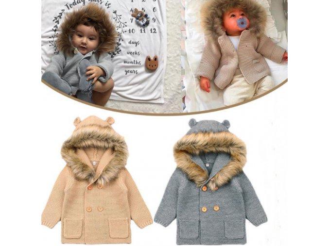 Detský pletený svetrík s kožušinou