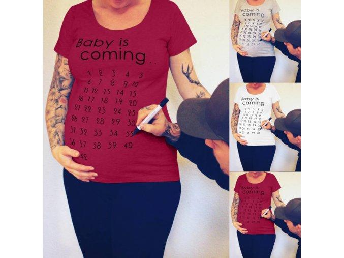 Bavlnené tehotenské tričko odpočítavanie - 3 farby