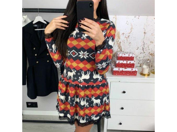 Dámske šaty s čipkou s vianočným motívom