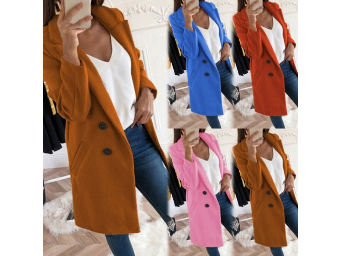 Dámsky zimný vlnený kabát - 4 farby až 5XL