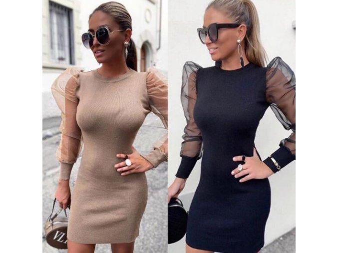 Puzdrové šaty s transparentnými rukávmi