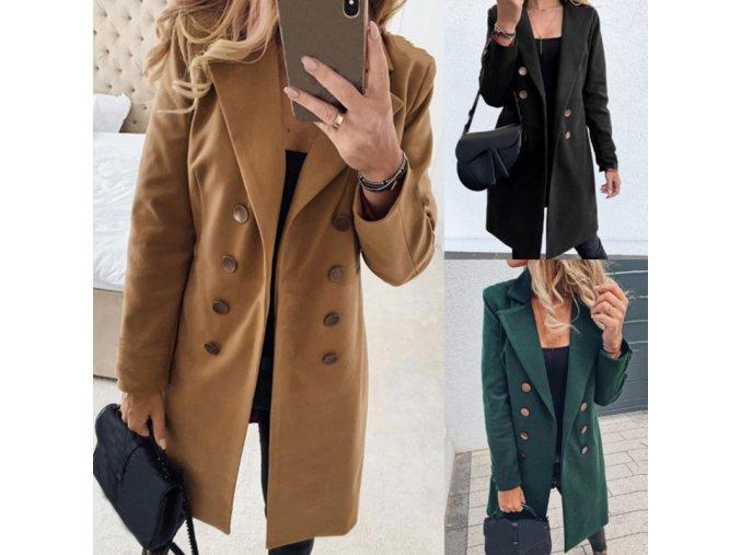 Dámsky zimný vlnený dvojradový kabát