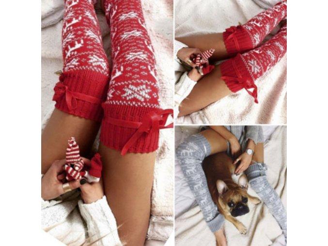 Dámske pletené podkolienky s vianočným motívom