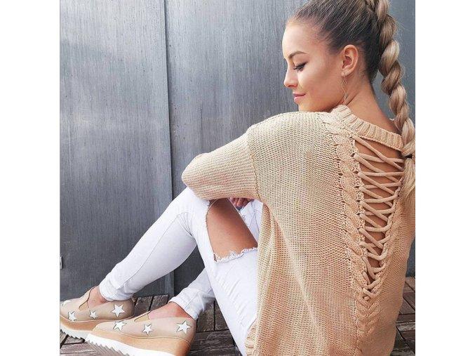 Teplý vlnený sveter s viazaním na chrbte
