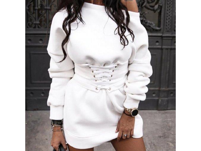 Dámske mikinové šaty s opaskom
