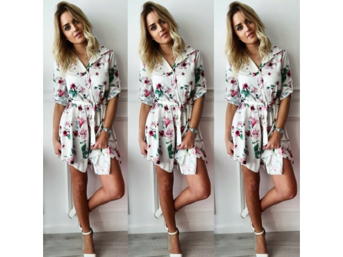 Dámske kvetované košeľové šaty