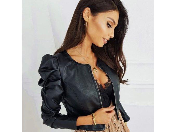 Dámska koženková bundička s naberanými rukávmi