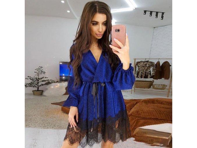 Dámske trblietavé šaty s čipkou - 5 farieb