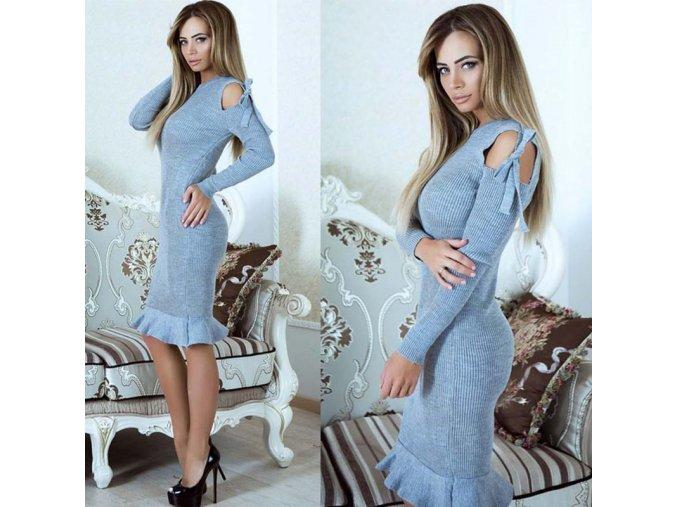 Dámske rebrované šaty s volánom