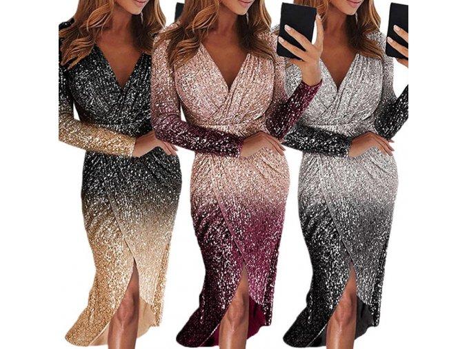 Sexy trblietavé spoločenské šaty s hlbokým výstrihom