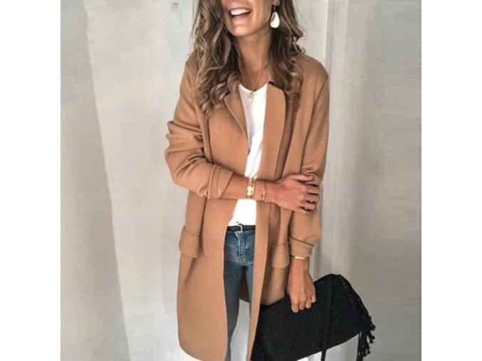 Dámsky jarný kabátik / prehoz s vreckami - až 3XL